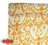 silkroude Kantha Tagesdecke mit indischem Handblock, w&erschönes organisches Indigofarben, super weich, gemütlich, 100prozent Baumwolle, Blumenmuster, Heimdekoration, wendbar
