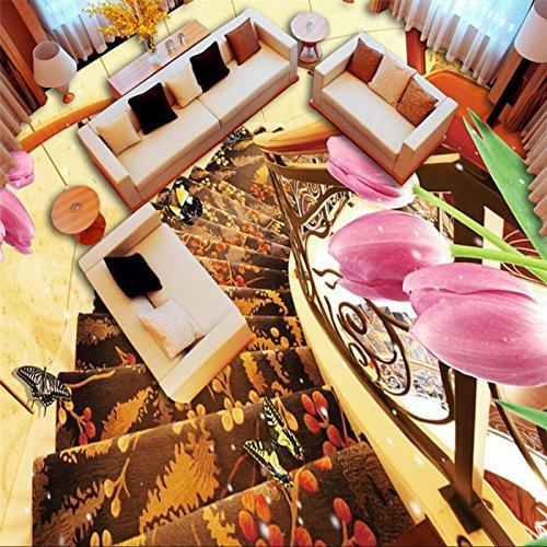 Mznm Rotary trap tulpen luxe en elegante 3D stereo vloerbedekking aangepaste grote Fresko Pvc waterdicht dik om in te voegen 350 x 250 cm.