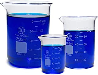 Huaou Laboratory 3.3 Boro Glass Beaker Low Form Set-3 Sizes-50,100 and 250ml