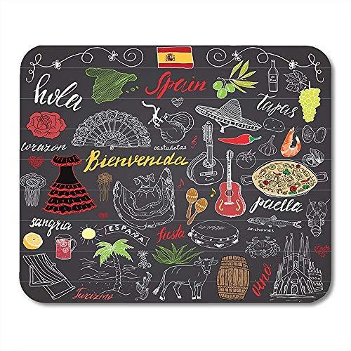 Mauspad Spanien Kritzeleien Spanische Beschriftung Lebensmittel Paella Garnelen Olive Traubenfächer Weinfass Gitarren Musikinstrumente Mauspad Matten 25X30 Cm