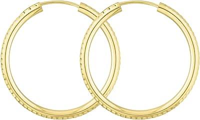 Orecchini Cerchi Medi in oro giallo 585 Donna 30 mm, largh. 2,5 mm, marchio di garanzia made in Germany