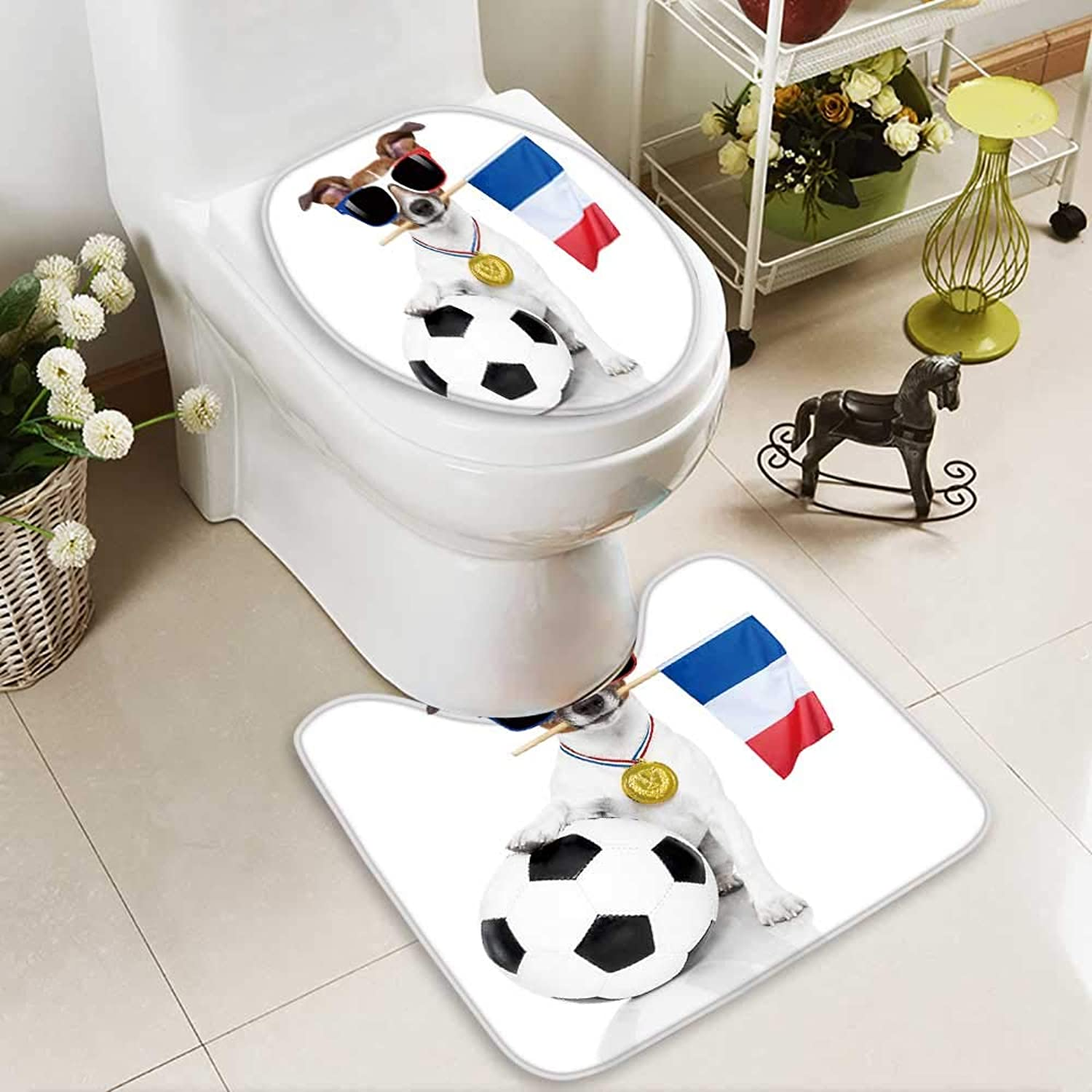 Analisahome Cushion NonSlip Toilet Mat Jack Russell Dog with Football Soft NonSlip Water