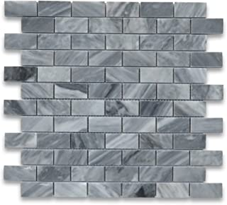 Bardiglio Gray Italian Dark Grey Marble Subway Brick Mosaic Tile 1 x 2 Polished