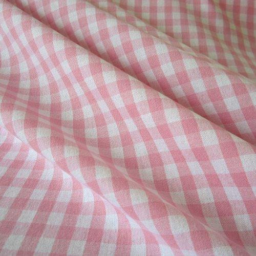 Tissu au mètre bauernkaro rose rideau voilage à carreaux style maison de campagne blanc