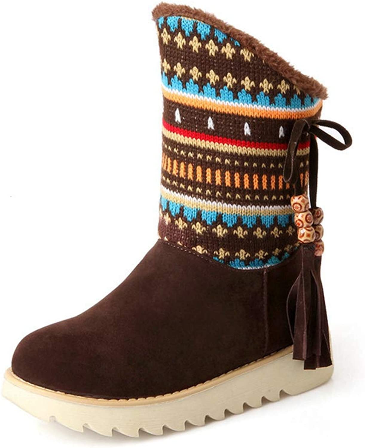 CYBLING Women's Winter Tassels Short Boots Suede Leather Faux Fur Linned Mid Calf Warm Snow Boots