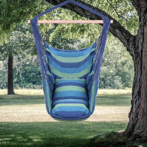 Pannow Hammock Hanging Chair Swing Chair,Distinctive Cotton Canvas Hanging Rope Chair Seat with Pillows Comfortable and Durable for Bedroom,Garden, Yard Any Indoor or Outdoor Spaces (Blue)