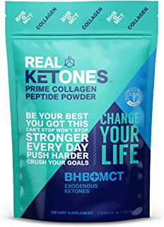 Real Ketones Prime Collagen Peptides - Keto and Paleo Friendly Grass Fed Bovine Collagen Protein with BHB (Beta-Hydroxybuterate) and C8 MCT (Medium Chain Triglicerides), Unflavored