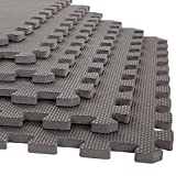 Stalwart Foam Mat Floor Tiles, Interlocking EVA Foam Padding Soft Flooring for Exercising, Yoga, Camping, Kids, Babies, Playroom – 6 Pack, Gray, 24' X 24' X 0.5'