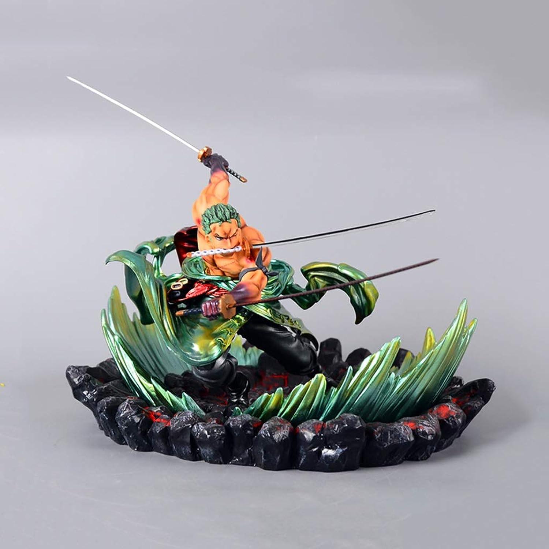 moda LIUXIN LIUXIN LIUXIN Una Pieza de Anime Estatua Roronoa Zoro Modelo de Juguete Que vuelve a Pintar Craft PVC Character Model Plus Resina Base Collection -9.4in Modelo de Juguete  caliente