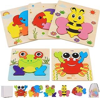Puzzle en Bois Enfant, 5 Pièces Jouet Bébé 3D Puzzles, Jouet Montessori Animaux pour 1 2 3 4 Ans, Puzzle à Encastrement Ed...