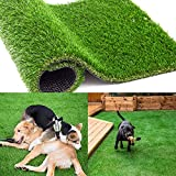 Custom Size Artificial Grass Rug - 4 FT x 6 FT, Artificial Turf with Drainage Holes Faux Grass Rug Carpet for Pets, 1.38 Inch Thick Fake Grass for Indoor Outdoor Balcony Garden