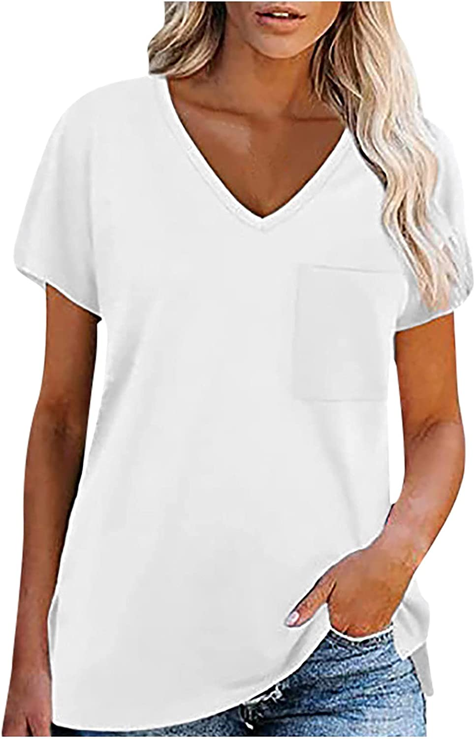T-Shirt for Women Summer Fashion V-Neck Short Sleeve T-Shirt Solid Color Loose Blouse Tops