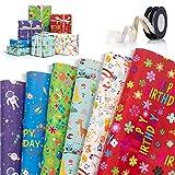 Papel de Regalo, 6 Hojas Papel De Envoltura De Regalocon con 2 Rollo de Cinta, Lindos Animales Papel Regalo Cumpleaños Papel Envolver para Cumpleaños Navidad Baby Shower (6 Diseño,70 x 50cm)