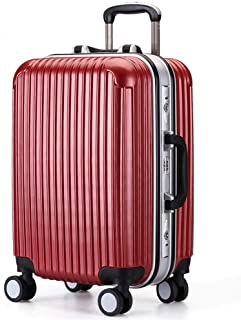 Frosted PC Brushed Packing Angle Aluminum Frame Trolley Suitcase Travel Password Box Red 24 Inch