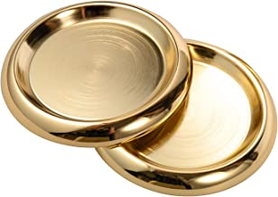 IMEEA Plate Candle Holder SUS304 Stainless Steel Round Candle Plate for Pillar Candle Hoder, Set of 2 (Gold)