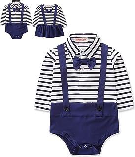FeMereina Neugeborene Bruder Schwester Zwillinge passenden Outfit Gentleman & Lady Stripe Straps Strampler 3-24 Monate