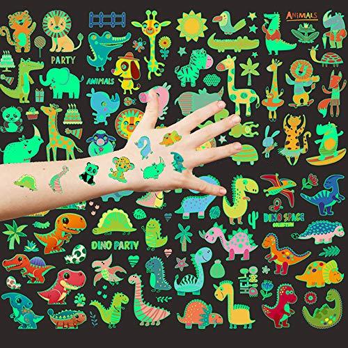 Aoligei 20 Hojas Tatuajes Temporales para niños, Luminoso Tatuajes temporales Falso Tatuajes Pegatinas, Animal Dinosaurio tatuaje regalo de decor fiesta para niños y niñas