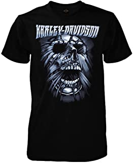 HARLEY-DAVIDSON Men's Stretched Skull Short Sleeve Crew T-Shirt, Solid Black