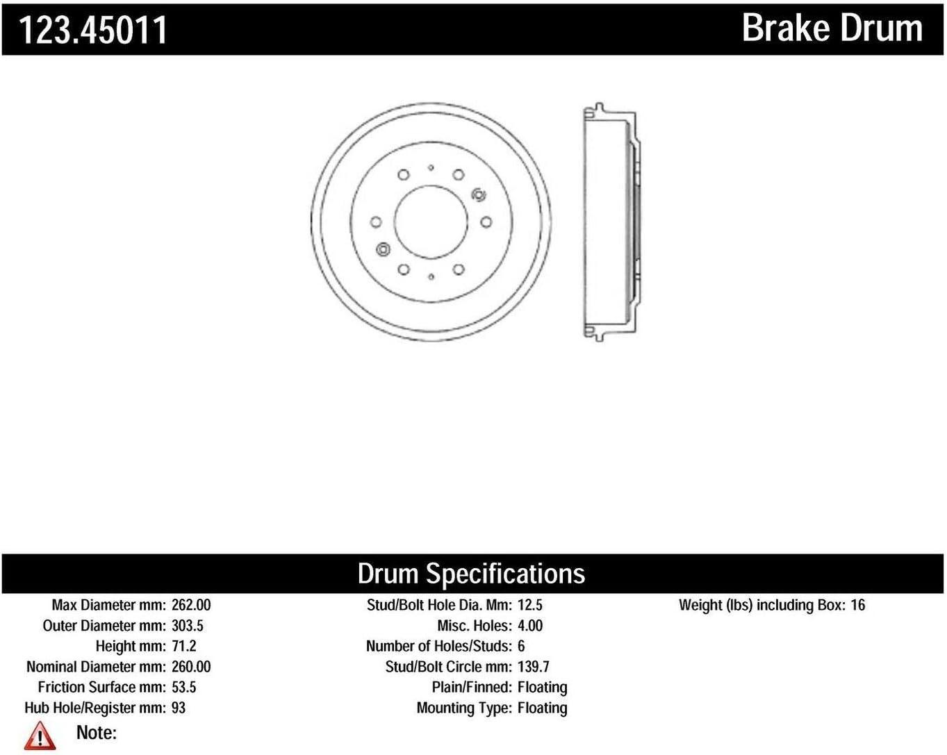 High quality Centric Parts 123.45011 Brake Drum List price