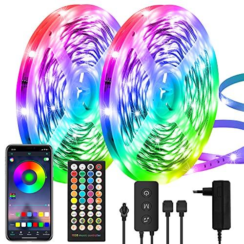 Tira LED 30 m, RGB cambio de color, controlada por aplicación y mando a distancia, ultra larga banda LED 5050 autoadhesiva, sincronización de música, para dormitorio, iluminación y decoración...
