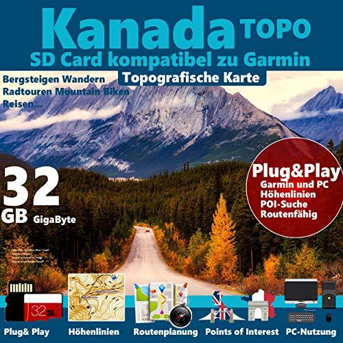 Preisvergleich Produktbild KANADA Karte Outdoor Topo 32GB microSD passend zu GARMIN Navi