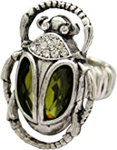 Q&Q Fashion Vintage Egyptian Cleopatra khepri Scarab Beetle Green Rhinestone Stretch Finger Ring