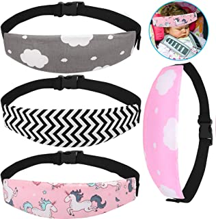 Accmor Baby Carseat Head Support Band Strap 4 Pack for Carseats Stroller Neck Relief Head Strap for Toddler Child Kids Infant(Black Wave + Pink Unicorn +Pink/Grey Cloud Pattern)