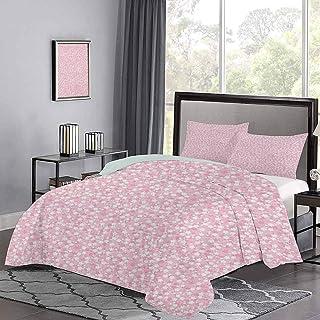 UNOSEKS LANZON - Colcha para colchas abstractas de flores pequeñas y puntos de belleza en la naturaleza, funda de edredón de fieltro como dormir en una nube, color rosa pálido, azul, tamaño doble