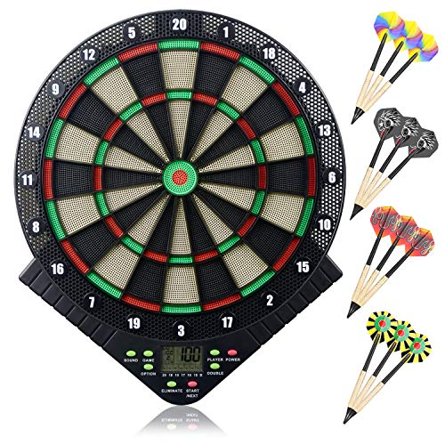 Miuko Electronic Dart Board Electronic Dartboard Soft Tip Dartboard Set LCD Display Scoreboard 18 Games 159 Options Include 6 Darts 24 Tips for 8 Players Battery Supply