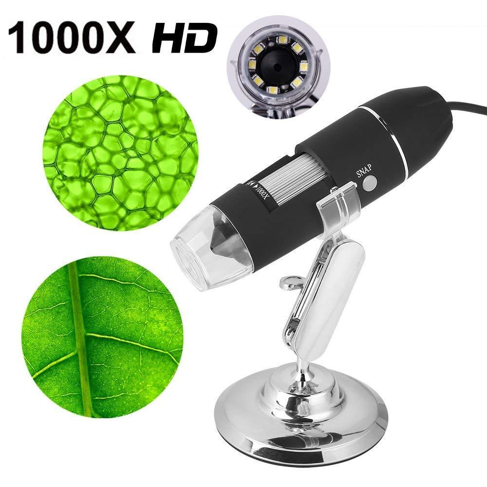 Microscopio digital, ampliación 1000X con 8 luces LED y soporte de caída de mano lupa electrónica de múltiples funciones USB conectar la computadora y el teléfono móvil: Amazon.es: Hogar