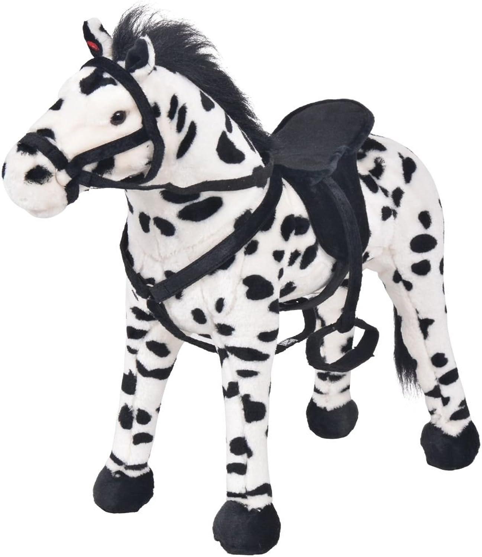 Festnight Soft Standing Horse Plush Horse Toy  Black and White, Plush, 71x62 cm