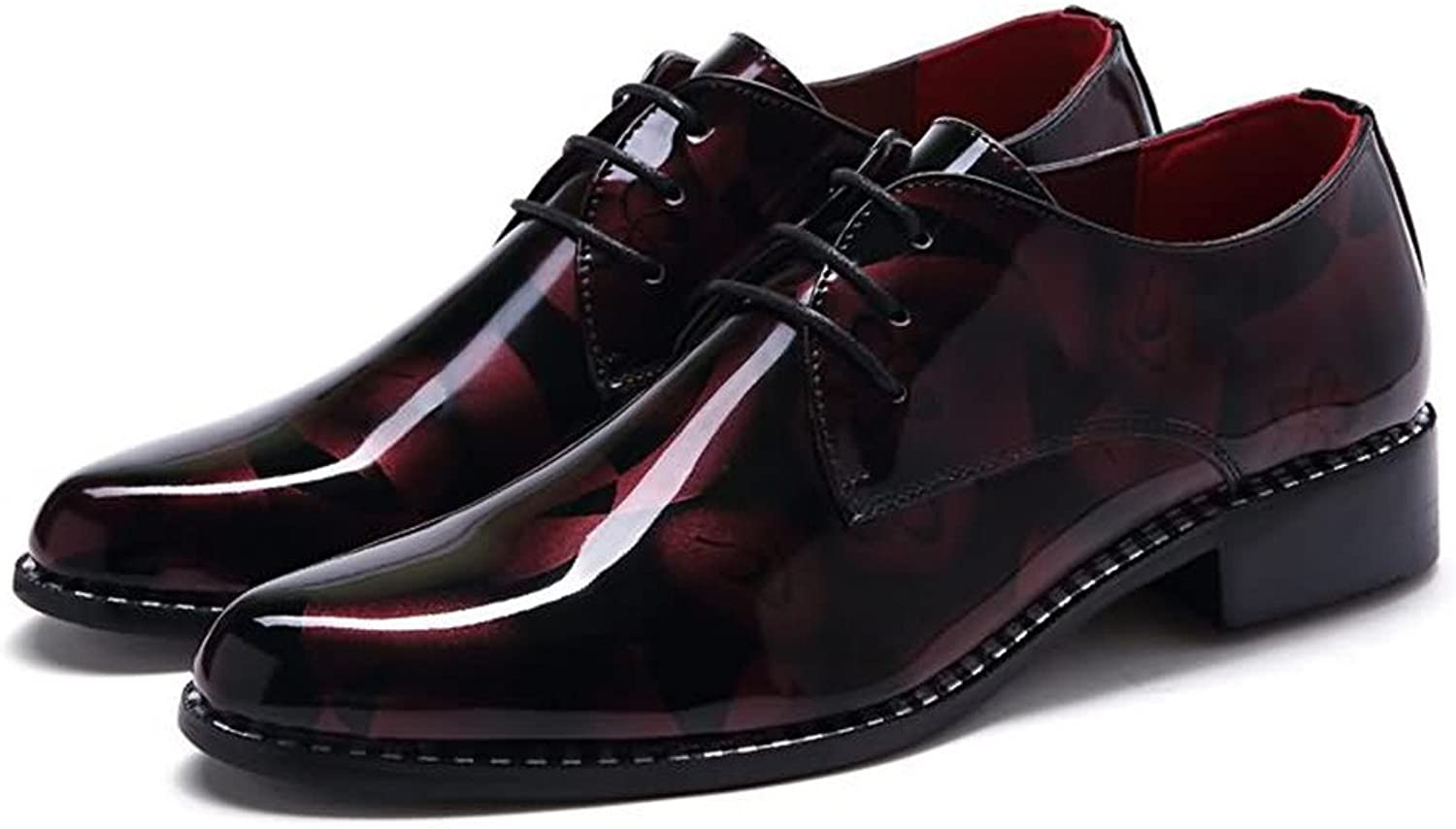 Patent leather Men's Loafer Flat Heel Camouflage pattern Fashion classic print without fading smooth mirror Casual Business shoes Formal wear Dress shoes (color   Red, Size   8 UK)