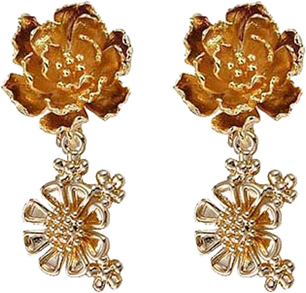 Dainty Flower Head Clip on Earrings Sunflower Cluster Dangle Drop for Women Girls Costume Jewelry Gold Plated Hypoallergenic Non Pierced Ears Screw Back Design Birthday Gifts