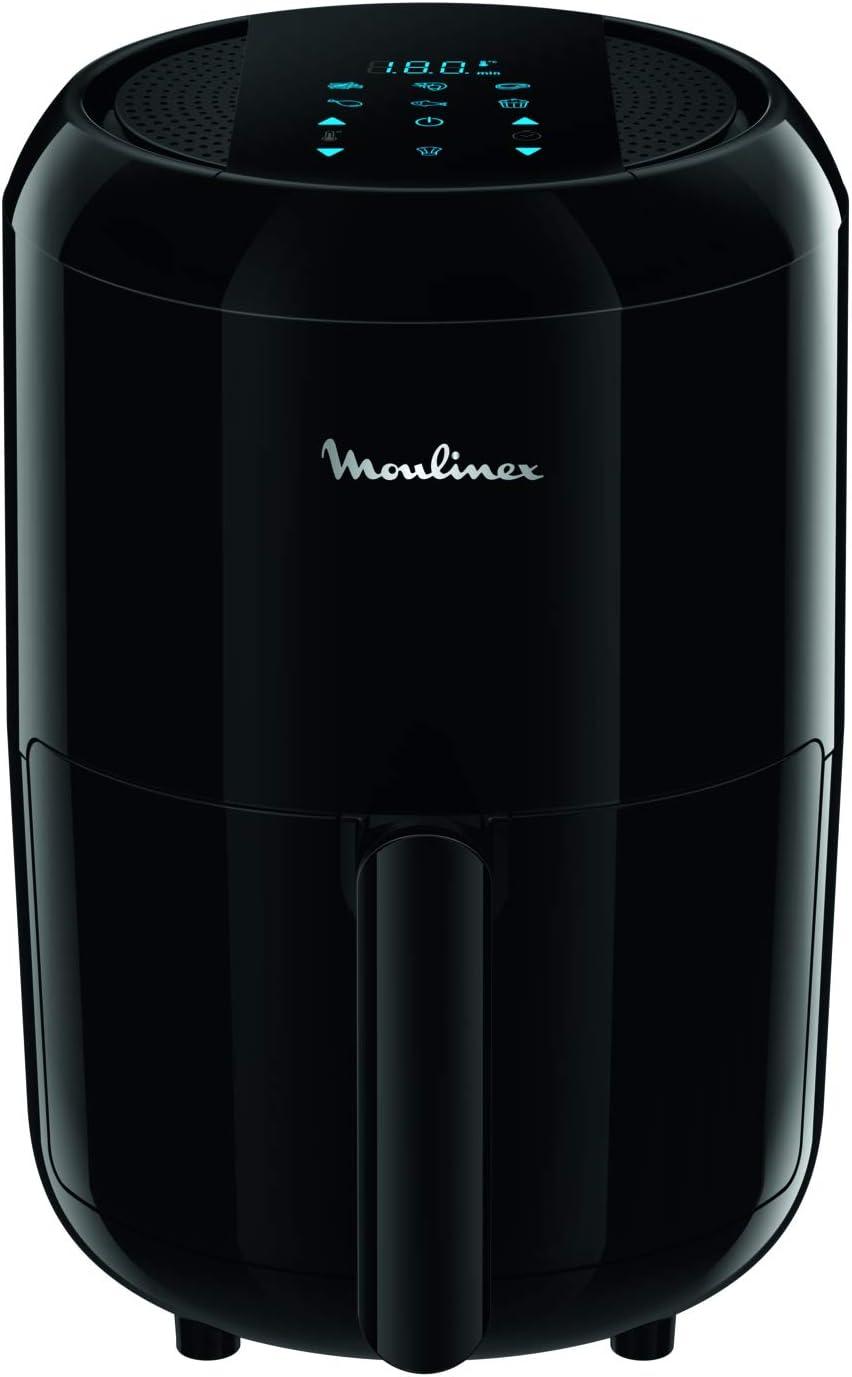 Moulinex EZ3018 Easy Fry Compact Precision - Freidora eléctrica para 2 personas, 6 modos preestablecidos, pantalla táctil, 1030 W, capacidad de alimentos 1,5 kg, 1,6 L, negro