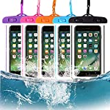 MSERICH Waterproof Phone Case, 5 Pack Universal Waterproof Pouch Dry Bag with Neck Strap Luminous Ornament for Water Games Protect iPhone 11 Pro XS XR X Max SE 8 7 Plus Galaxy S10 S9(Multicolor)
