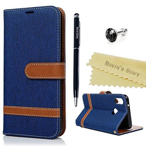 Huawei P20 Lite Hülle Case Mavis's Diary Jeans Leder Tasche Handyhülle Flip Cover Schutzhülle Skin Ständer Schale Stoßdämpfend Handytasche Bumper Holster Magnetverschluss Ledertasche Brieftasche-Blau