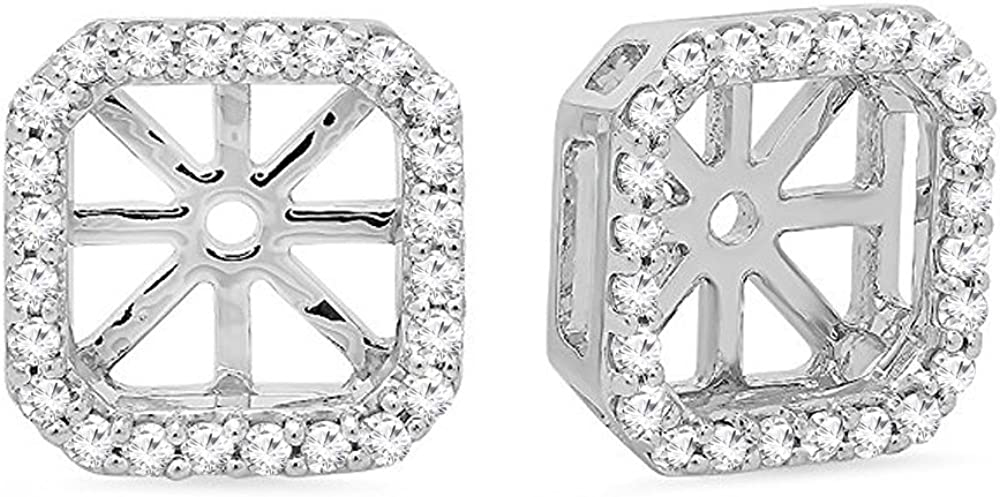 Dazzlingrock Collection 0.26 Carat (ctw) Round White Diamond Removable Jackets For Stud Earrings 1/4 CT