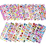 Stickers for Kids 1500+, 20 Different Sheets, 3D Puffy Stickers, Bulk Kids Stickers for Scrapbooking, Girl Boy Birthday Present Gift, Variety Pack Including Animals, Cars and More