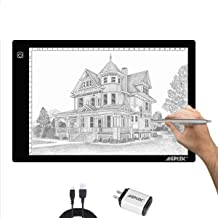 AGPtek A4 Ultra-thin Portable LED Artcraft Tracing Light Pad USB Cable + Wall Adapter Powered Brightness Control For Artists, Drawing, Sketching, Animation, X-ray Viewing, Sewing, Tattoo, Quilting
