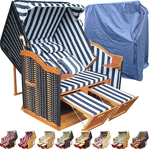 XINRO® Garten Strandkorb inkl. Strandkorbhülle u. 4X Kissen, Blau-gestreifter Stoff - schwarzes Polyrattan, Ostsee Strandkorb Form