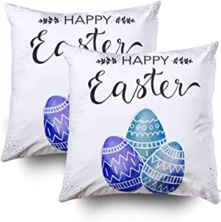GROOTEY Pillow Covers, Square Pillow Covers with Zip Couch Sofa Décor Happy Easter Greeting Card Festive Colorful Holiday Background Doodle Eggs 18X18 Set of 2 Throw Cushion