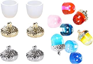 Yalulu 6Pcs Transparent Silicone Mould Necklace Pendant Mold Resin Decorative Craft DIY Acorn Type Epoxy Resin Jewelry Molds