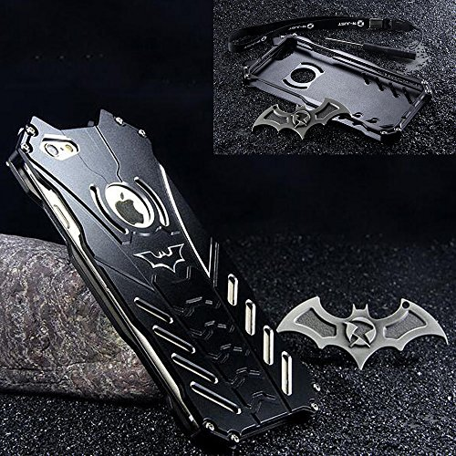 GOODKSSOP Cool Black Metal Case for iPhone 8 and iPhone 7 (4.7 inch), Luxury Tough Plate Anti-Fall Shockproof Aluminum Protective Skin Scratchproof Back Cover