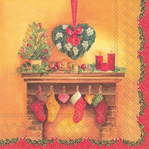 Boston International L788200 IHR Lunchpapieren servetten, 16,5 x 16,5 cm, decoratieve open haard