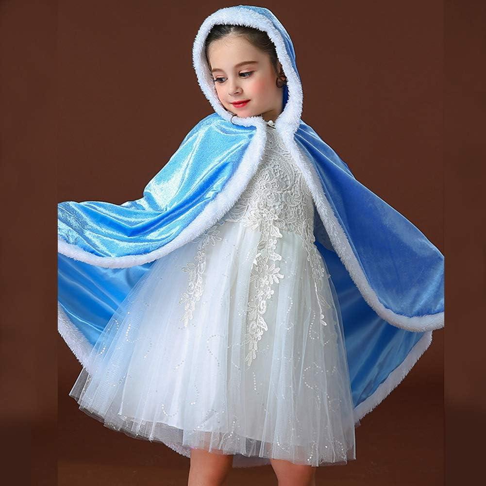 PROALLO Girls Costume Fur Princess Hooded Cape Cloaks Costume for Girls Dress Up