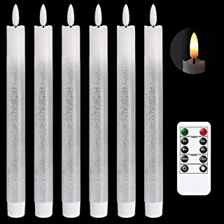 DRomance LED Flameless Taper Candles Battery Operated with Remote and Timer, Set of 6 Real Wax Warm Light 3D Wick Flickeri...