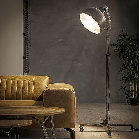 famlights Lampadaire vintage Ole en métal argenté sur roues, hauteur réglable, 1 ampoule industrielle E27, lampe de chevet mobile pour salon, chambre à coucher