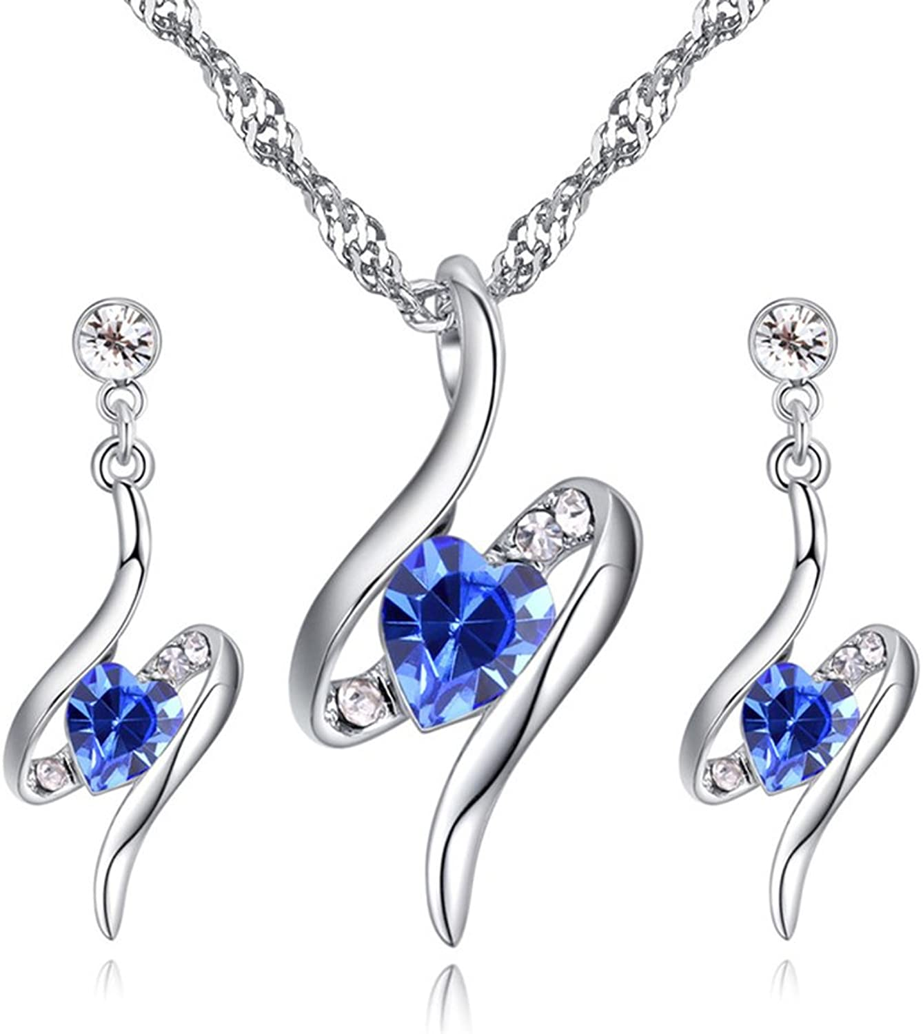 Bridal Jewelry Set Fashion Atmosphere Austrian Crystal HeartShaped Water Drop Necklace Jewelry Female,Sapphire