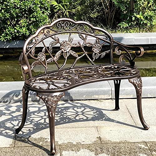 JOYBASE Outdoor Bench, Metal Patio Bench, Cast Iron Bench, Porch Bench, Cast Aluminum Bench, Garden Bench, Bronze