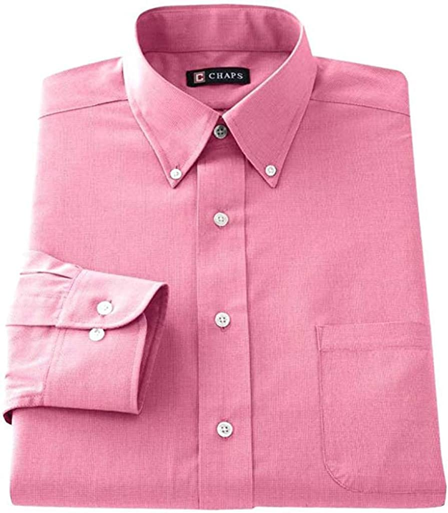 Chaps Men's Classic Fit Button Down Collar Wrinkle Free Dress Shirt Pink Blossom